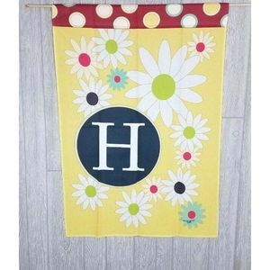 Floral Monogram H Initial Yellow Decor House Flag